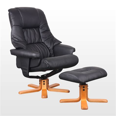 office recliner chair sorento real leather black swivel recliner chair w foot