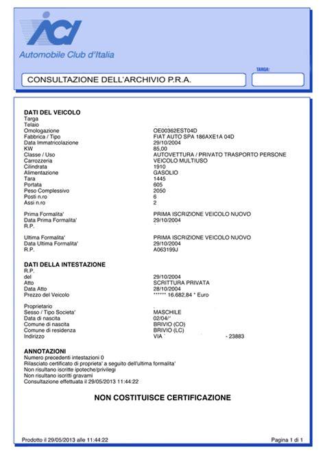 Banca Dati Pra by Visura Per Targa A 16 90 Tecnicoweb