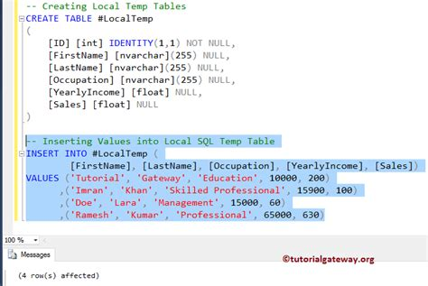insert into temp table from stored procedure temp table in sql server