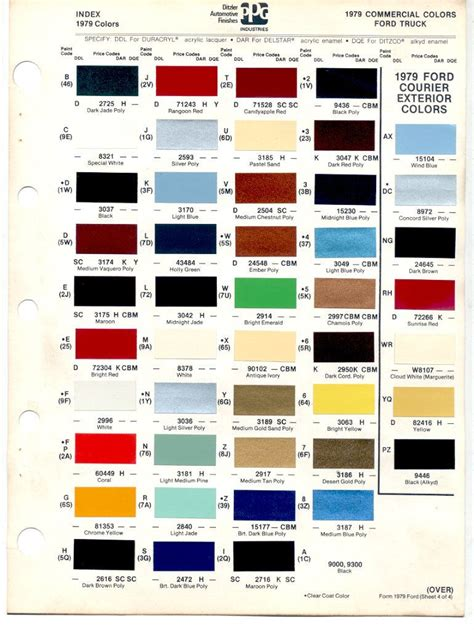 auto paint codes 1978 79 bronco color codes