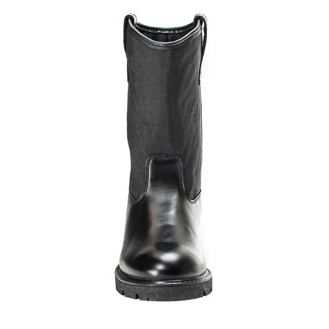 mens black leather wellington boots rocky mens black leather pull on wellington duty work