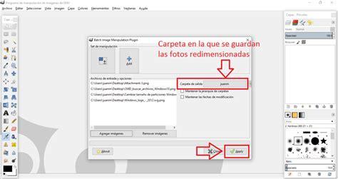 redimensionar varias imagenes gimp como cambiar el tama 241 o de varias fotos o im 225 genes a la vez