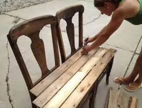 How To Make A Sitting Bench Diy Pallet Bench From Chairs 99 Pallets