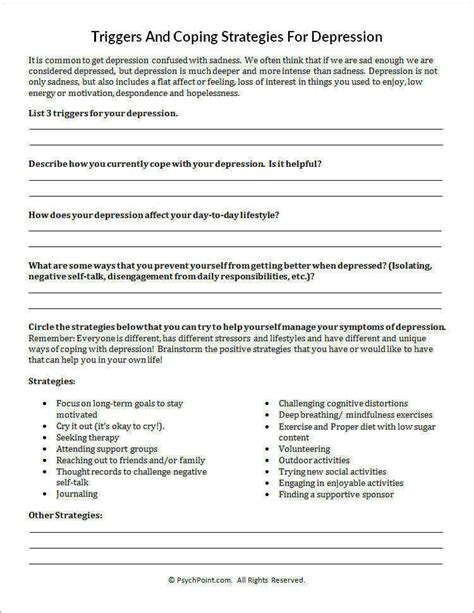 Coping Skills Worksheets Pdf