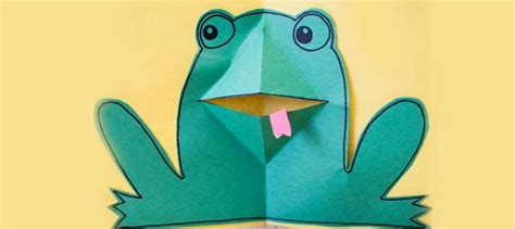 frog pop up card template pop up frog card how to make a pop frog card paper