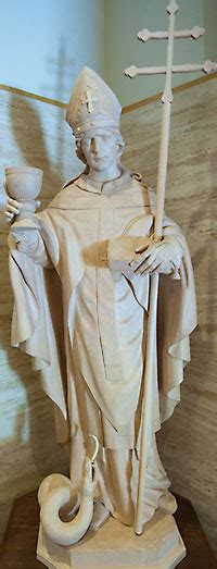 st norbert statue graces green bay cathedral entrance