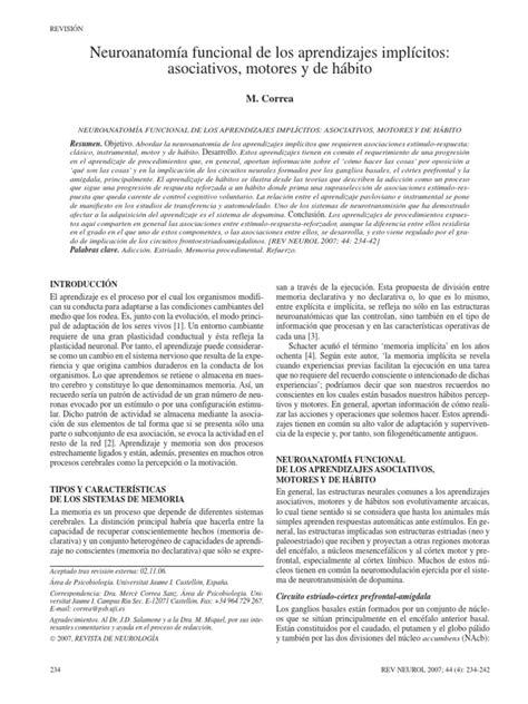 Neuroanatomía funcional de los aprendizajes implícitos
