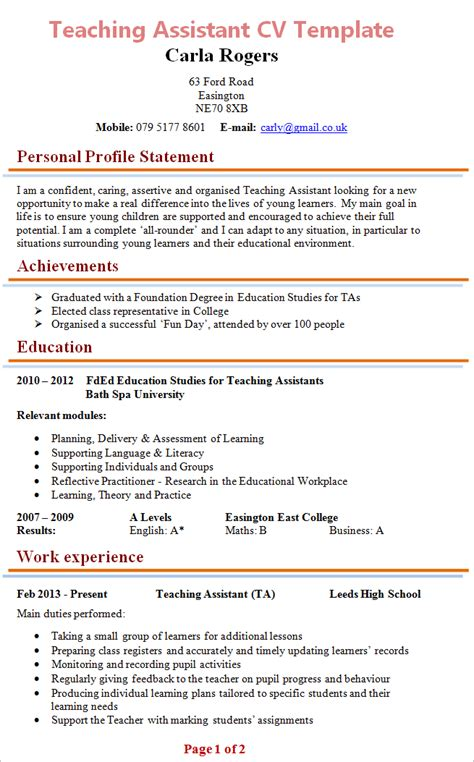 cv templates for teaching assistants 100 college teaching assistant resume cv resume sles
