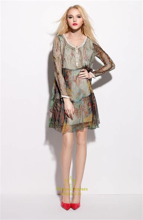 Sleeve Print Chiffon Dress vintage style floral print sleeve chiffon dresses