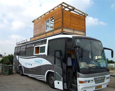 Little Homes On Wheels old bus converts to mediterranean penthouse suite on