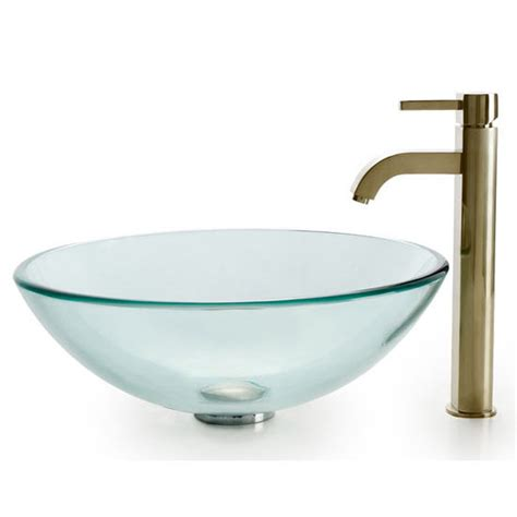 Set Gv Stelan Satin homecomforts kraus clear glass vessel bathroom sink and ramus faucet set free shipping