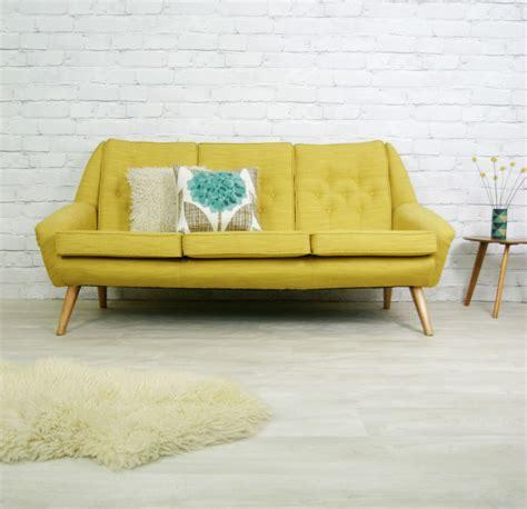 60s style furniture vintage retro mid century mustard danish style sofa settee