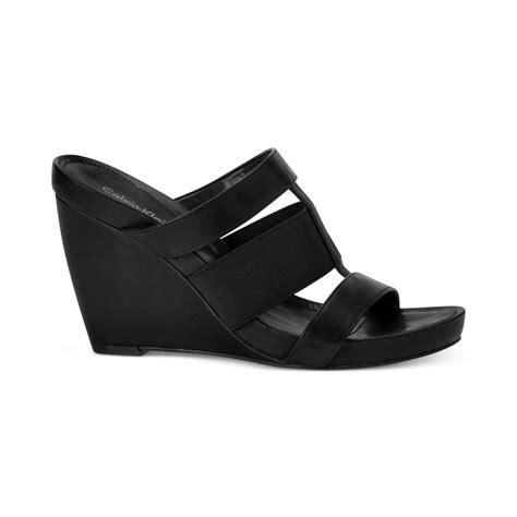 calvin klein wedge sandals calvin klein womens dunley wedge sandals in black lyst
