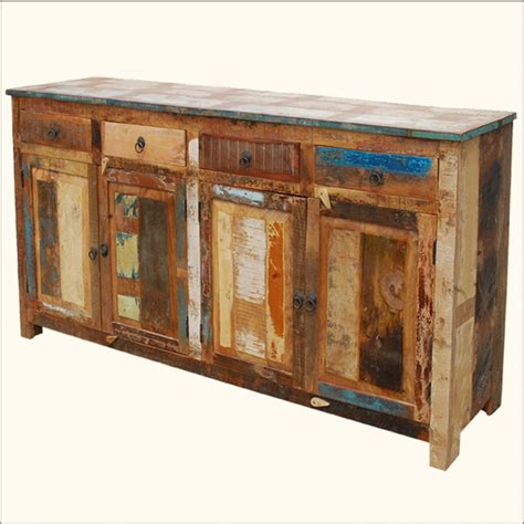 Distressed Buffet Sideboard Weathered Rustic Reclaimed Rustic Buffet Furniture