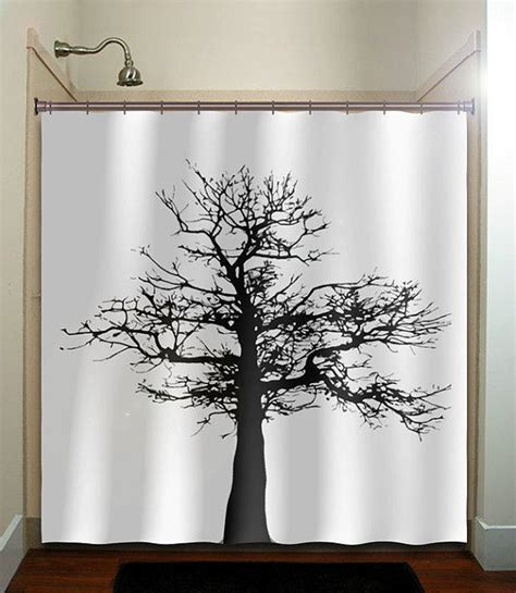 Shower Curtains With Trees Gray Black Tree Shower Curtain Bathroom From Tablishedworks On