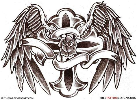 cross with wings and roses tattoo wings gallery 50 cross tattoos