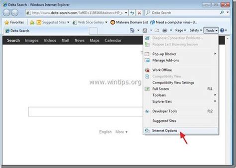 reset ie tool remove delta search delta search toolbar adware and