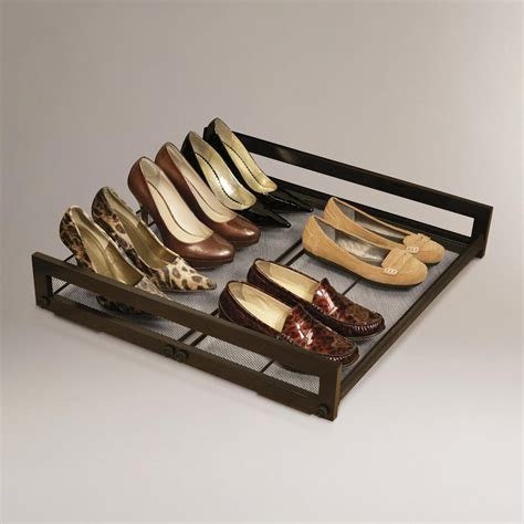 under the bed shoe rack under bed sliding shoe rack world market