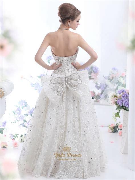 ivory beaded wedding dress ivory lace fully beaded strapless wedding dress with big
