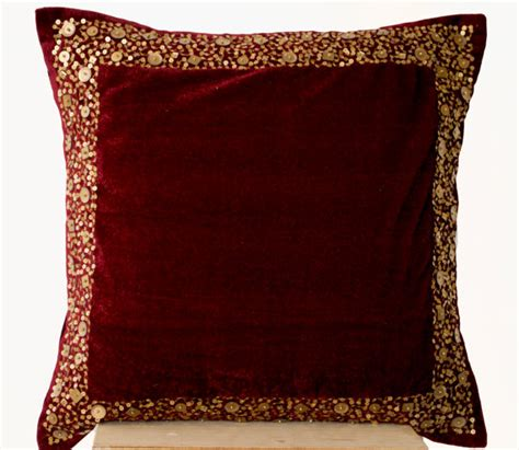 throw pillows for burgundy sofa velvet throw pillow maroon velvet cushion with gold sequin