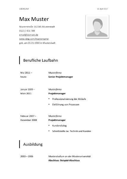 Tabellarischer Lebenslauf Word by Lebenslauf Vorlage Klassisch Schwarz Bewerbung