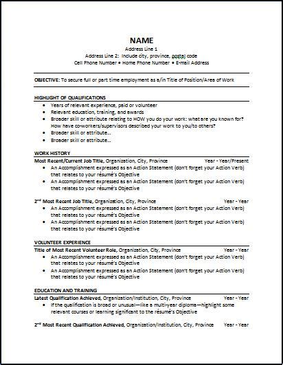 resume format canada sample 3 - Resume Sample Canada