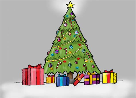 christmas decorations for kids to draw drawings of a tree how to draw a tree with presents for
