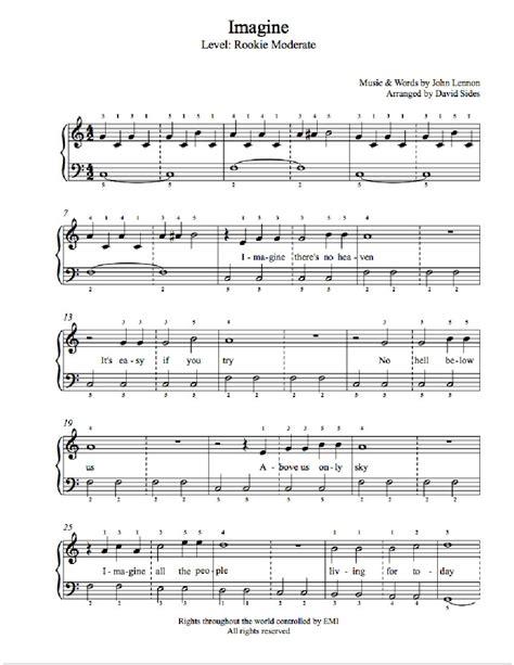 free printable sheet music for imagine by john lennon imagine by john lennon piano sheet music rookie level