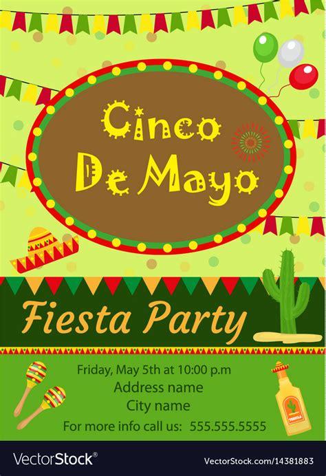 Cinco De Mayo Invitation Template Flyer Mexican Vector Image Cinco De Mayo Template