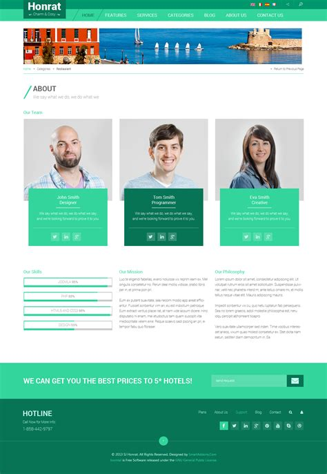 Preview Sj Honrat Responsive Hotel Joomla 3 X Template About Page Template