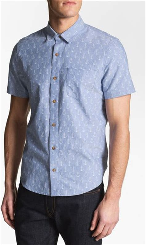 pattern oxford shirt 1901 pattern print oxford shirt in blue for men blue