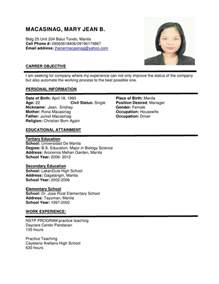 Formal Resume by Resume Format Sle More Exles