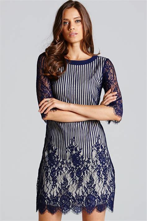 Dress Tunic navy stripe lace sleeve tunic dress