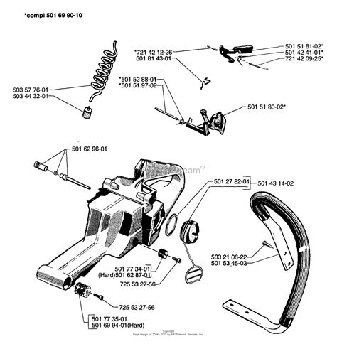 husqvarna chainsaw parts diagram husqvarna 61 1997 01 parts diagram for tank assembly