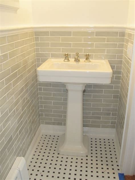 Handmade Bathroom Tiles - powder room pedestal sink traditional bathroom other