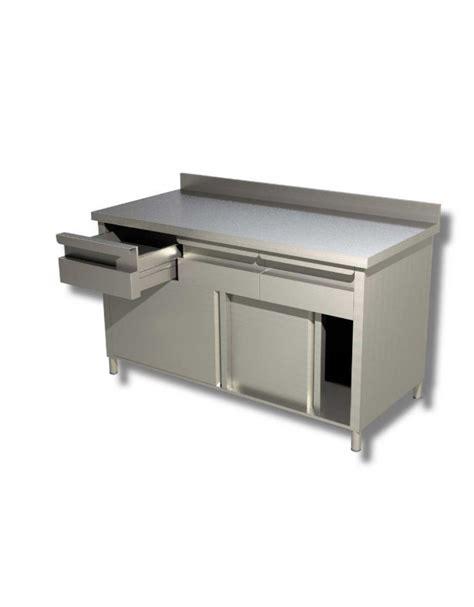 tavolo armadiato inox tavolo armadiato inox con cassettiera ed alzatina cm