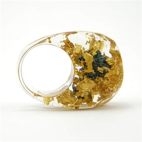 how to make clear resin jewelry gold 24k and carborundum ring unique clear resin ring with