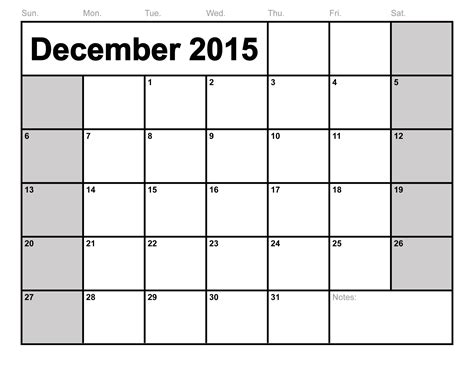 Free Printable Calendars 2015 December 2015 Calendar Printable Template 8 Templates