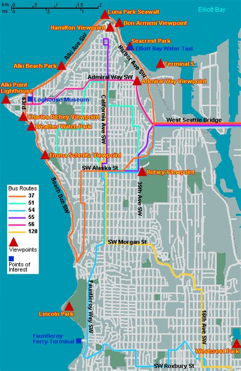 seattle map view map of west seattle viewpoints go northwest a travel guide