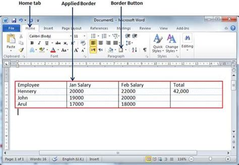 tutorialspoint ms word table borders shades in word 2010