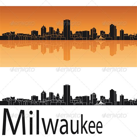 milwaukee skyline in orange background graphicriver