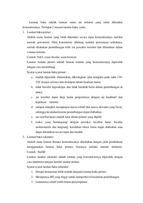 laporan praktikum membuat larutan dengan konsentrasi tertentu laporan praktikum asidialkalimetri