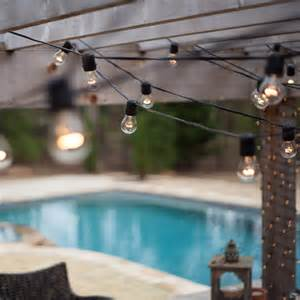 String Lights Patio Outdoor Patio String Lights 54 E26 Commercial Patio Light Stringer Spt2 Black Wire 24 Quot Spacing