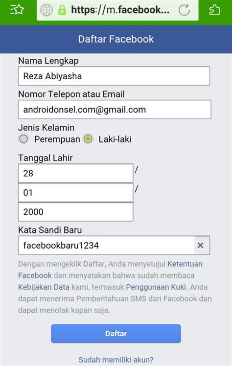 syarat membuat akun facebook cara buat akun facebook di browser android segala