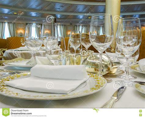 elegant dinner settings elegant dinner setting on cruise ship stock photo image