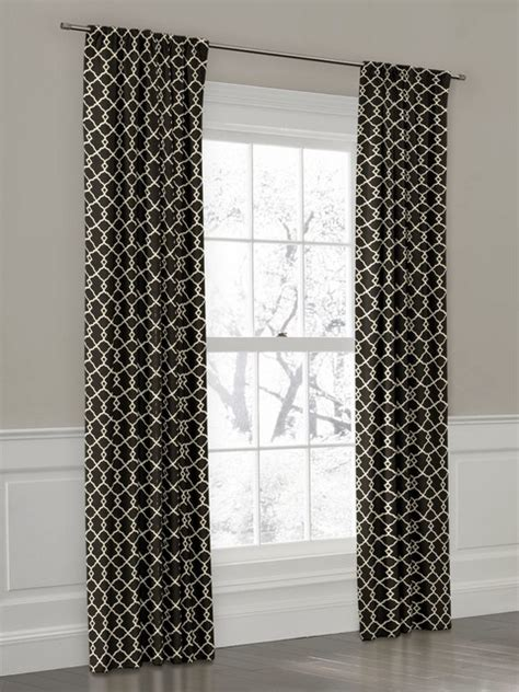 trellis print curtains custom black and white trellis rod pocket drapery