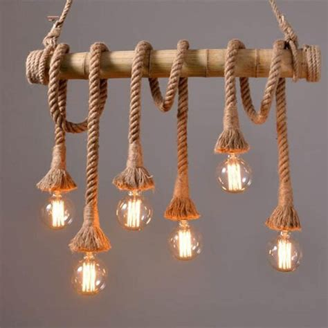 aliexpress com buy vintage rope bamboo pendant lights