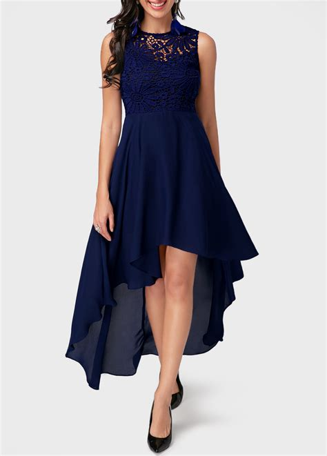 Chiffon Lace Panel Dress lace panel high low navy blue chiffon dress liligal