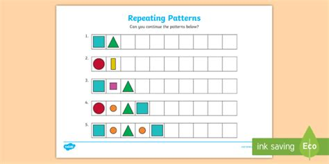 repeating pattern using shapes repeating pattern worksheet activity sheets shapes and