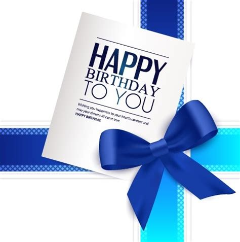 birthday greeting card psd templates happy birthday greeting card with bow vector free vector